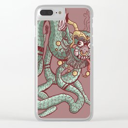 Angry Chinese dragon cartoon chained Clear iPhone Case