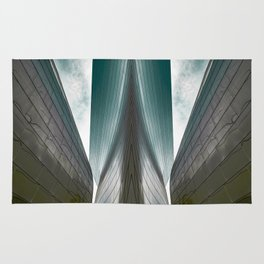 Architectural abstract of a metal clad building looming in symmetry and foreboding Rug