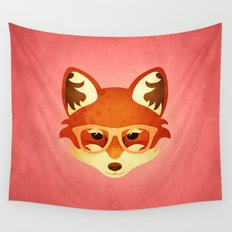 Hipster Fox: Rose Wall Tapestry