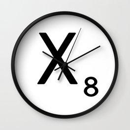 Letter X - Custom Scrabble Letter Tile Art - Scrabble X Initial Wall Clock
