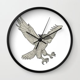 Harpy Swooping Drawing Wall Clock
