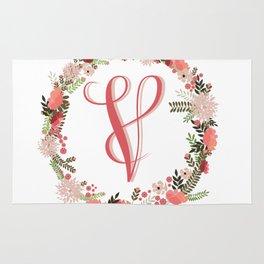 Personal monogram letter 'V' flower wreath Rug
