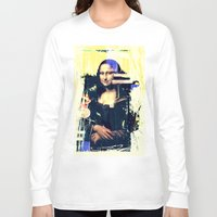 mona lisa Long Sleeve T-shirts featuring mona lisa by manish mansinh