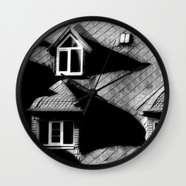 windows on old penthouse Wall Clock