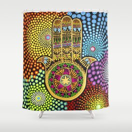 Hamsa Hand, hand of fatima, mandala, yoga art, mandala art, meditation art Shower Curtain