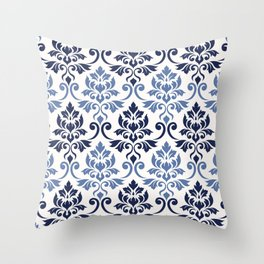 Feuille Damask Pattern Blues on Cream Throw Pillow