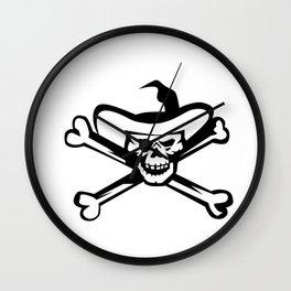 Cowboy Pirate Skull Cross Bones Retro Wall Clock