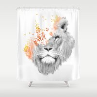 king Shower Curtains featuring If I roar (The King Lion) by Picomodi