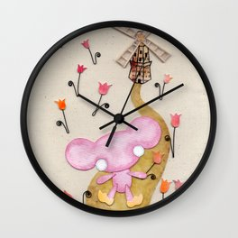 A Mouse With Clogs On, By A Windmill Wall Clock