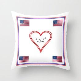 Flag of Usa – I love Usa 7 Throw Pillow