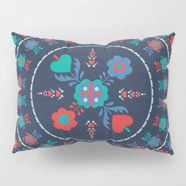 Folk Flowers with Red Border Pillow Sham