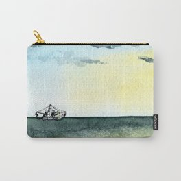 Watercolor Shrimp Boat Beach Scene Carry-All Pouch