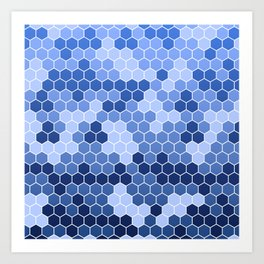 Honeycomb Blue Pattern | Geometric Shapes | Home Decor | Sapphire | For Him | For Her Art Print