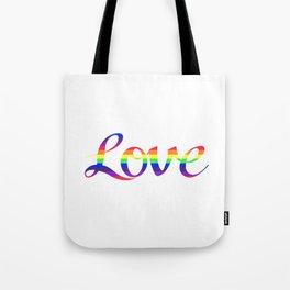 Love Script Rainbow Color Stripes Tote Bag