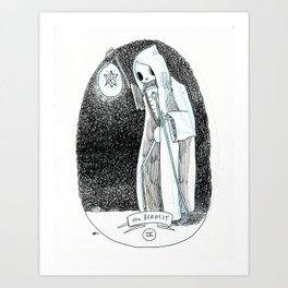 The Hermit Skeleton Tarot Art Print