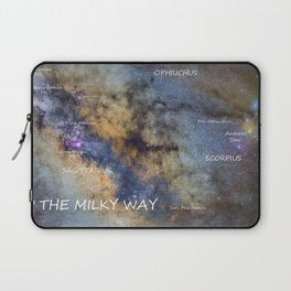 Star map version: The Milky Way and constellations Scorpius, Sagittarius and the star Antares. Laptop Sleeve