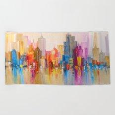 Rainbow city Beach Towel