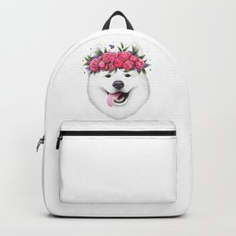 Samoyed with flowers Backpack