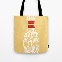 lebowski Tote Bags featuring The Big Lebowski by Drew Wallace