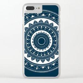 Ukatasana white mandala on blue Clear iPhone Case