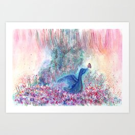 Mystical Blue Bird Watercolor Art Art Print
