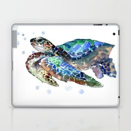 Sea Turtle, Green Blue, sea turtle under water, sky blue Laptop & iPad Skin