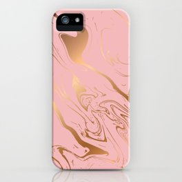 Royal pink golden abstract liquid marble texture iPhone Case