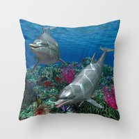 dolphins Throw Pillows featuring Dolphins by Simone Gatterwe