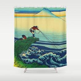 Vintage Japanese Art - Man Fishing Shower Curtain