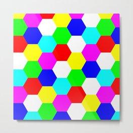 Hexagon Tesselation of Colors Metal Print
