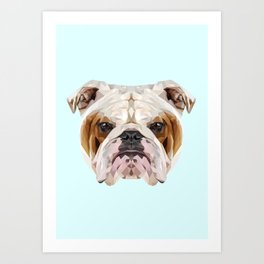 English Bulldog // Pastel Blue Art Print