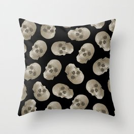 Halloween Skull pattern design black background Throw Pillow