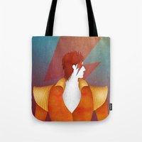 david bowie Tote Bags featuring Bowie by David van der Veen