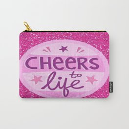 pink glitter cheers to life Carry-All Pouch