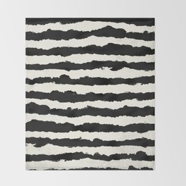 Horizontal Ivory Stripes Throw Blanket