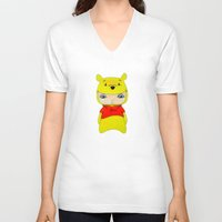 winnie the pooh V-neck T-shirts featuring A Boy - Winnie-the-Pooh by Christophe Chiozzi