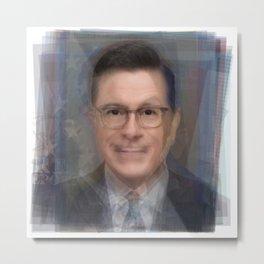 Stephen Colbert Portrait Overlay Metal Print