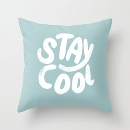 Stay Cool Vintage Pale Blue Throw Pillow