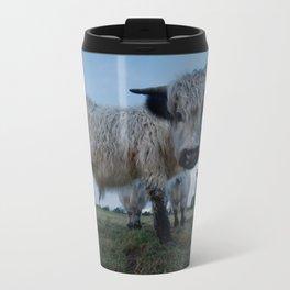 Inquisitive White High Park Cow Travel Mug