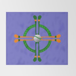 Hurley and Ball Celtic Cross Design - Solid colour background Throw Blanket
