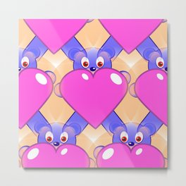 Whimsy Bears and Hearts Metal Print