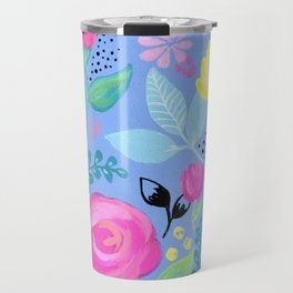 "Pink and Yellow Flowers, Periwinkle, Floral Pattern, ""Flowers for Reagan,"" Girls Nursery Decor Travel Mug"