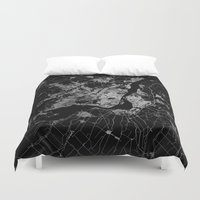 montreal Duvet Covers featuring montreal map by Line Line Lines