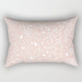Floral Pattern - White on Pink Rectangular Pillow