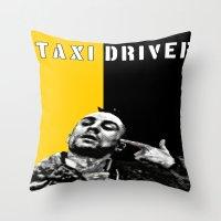 taxi driver Throw Pillows featuring Travis Bickle Taxi Driver by Maxim Garg