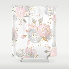 Roses Gold Glitter Pink by Nature Magick Shower Curtain