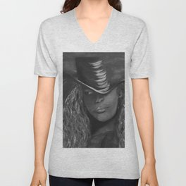 Invisible 2 by Lu, black-and-white Unisex V-Neck