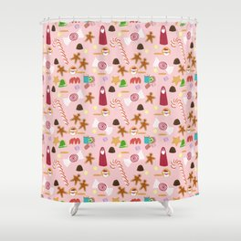Christmas Sweeties Candies, Peppermints, Candy Canes and Chocolates on Pink Shower Curtain