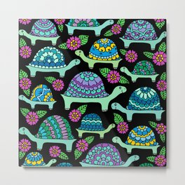 Colorful Tortoises Black Palette Metal Print