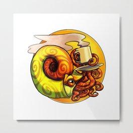Ammonite Tea Metal Print